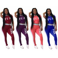 Wholesale gym clothes women set - Love Pink Women Outfit Summer Tracksuit Pink Letter Sportswear Short Sleeve T Shirt Tops Shorts Short Pants Set Gym Clothing AAA452