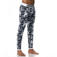 cuecas longas azuis venda por atacado-Homens de Algodão Longo Impresso Térmica Underwear Cueca Mens Leggings Sexy Cuecas Quentes Térmica Roupa Interior Azul M-XL