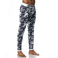 Wholesale Thermal Fashion Leggings - Men Long Cotton Printed Thermal Underwear Pouch Mens Leggings Sexy Warm Underpants Thermal Underwear Blue M-XL