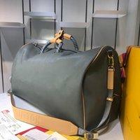 340e720d32dd6 Sonbahar Kış Seyahat çantası Erkekler keepall 50 marka gerçek deri erkekler  için crossbody çanta totels kanvas çanta M43858