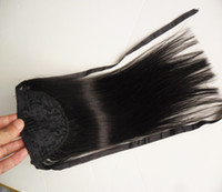 envolva as extensões de cabelo da cauda de pony venda por atacado-Cabelo Humano Rabo de Cavalo Europeu Extensões de Cabelo Em Linha Reta 60 gram Enrole Em Torno de Clip No Pony Tail Remy Cabelo 16 Polegadas