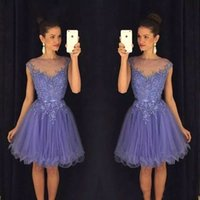 Wholesale homecoming dress belt for sale - Group buy 2020 New Lavender Sheer Homecoming Dresses Cap Sleeves Lace Appliques Beaded Short Prom Dresses with Belt Backless Cocktail Gowns BA9172