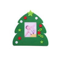 marco plástico de la foto llaveros personalizados al por mayor-Marco de fotos de Navidad no tejido titular de la imagen marco árbol de navidad adornos regalo decoración del hogar
