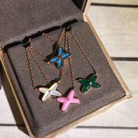 rosa diamant anhänger großhandel-Jeux de Liens S925 Sterling Silber X Form mit Diamant Anhänger Halskette in blau weiß grün rosa Markenname für Frauen Hochzeitsgeschenk PS7032