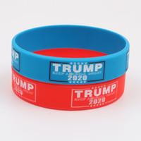 ingrosso braccialetto di fascino su ordinazione-Braccialetto in silicone personalizzato Braccialetto 2020 per elezione Trump AMERICA GRANDE cinturino in silicone braccialetti rosso blu Braccialetti sostenitori Trump