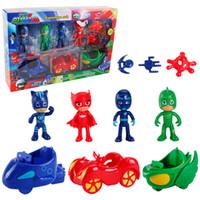 ingrosso auto di partito di compleanno-Personaggi PJmasks 4 Figure +3 Arms +3 Cars Catboy Owlette Gekko Giocattolo regalo per bambini per Halloween Birthday Party
