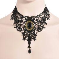 ingrosso choker del gioiello-Collana girocollo in pizzo vittoriano gotico Sexy Hollow Black Metal Cameo Jewel Steampunk Cosplay