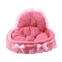 ingrosso cani da letto principessa-Vendita calda Traspirante Pet Dog House Lavabile Bow Lace Pizzo Princess Dog Cat Bed Kennel Nest Case per cani Accessori per canili