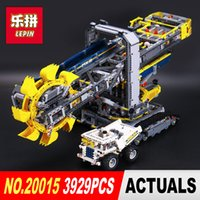 Wholesale Toy Model Excavators - NEW LEPIN 20015 Technic series 3929Pcs Bucket wheel excavator Model Building blocks Bricks Compatible 42055 Toy Christmas Gift