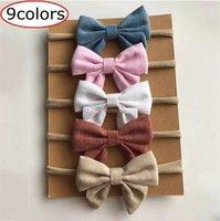 La mejor calidad 9 colores de algodón hechos a mano para niños recién  nacidos arco Nylon vendas Nylon Headwear nilón elástico diadema banda para  la cabeza ... ee7181e8718e