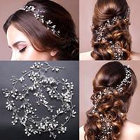 güzel uzun saçlı kadınlar toptan satış-Güzel Ucuz 1 m uzun gümüş Düğün Aksesuarları Gelin Tiaras Kristal Rhinestone Saç Bantları Nedime Kadınlar Saç Takı Taçlar kafa bandı