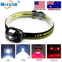 Wholesale LED Mode Headlamp Waterproof LED Headlight Flashlight White Red light Head lamp Torch Bike Light R3 LED Headlight Stock in US
