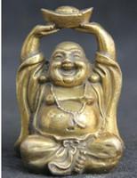 accesorios de pastel chino al por mayor-Budismo chino Asiento de bronce Yuan Bao Happy Laugh Maitreya Buddha Statue metal handicraft