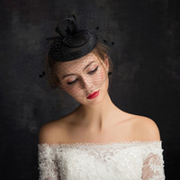 ingrosso velo bianco bianco cappello nero-Black Wedding Birdcage Veils Champagne Ivory White Flowers Piuma Birdcage Veil Bridal hat Capelli Pezzi Accessori da sposa