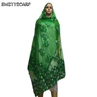 afrikanische schals frauen großhandel-African Scarfs Net mit Baumwollstickerei Muslim Hijab Schal / Muslim Kopftuch mit Strass für Frauen Schals BM521