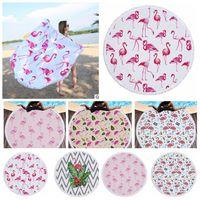 Wholesale Wholesale Yoga Towels - Flamingo Printed Round Tassel Beach Towel Women Shawl Tablecloth Picnic Rugs Yoga Mat Round Beach Towel KKA4125