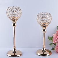 Wholesale Table Candelabra Crystal Wholesale - Gold Candelabra Wedding Centerpieces Center Table Candlesticks Parties Decor K9 Crystal Candle Lantern Candle Holders