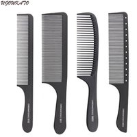herramientas de corte de pelo profesional al por mayor-Peine profesional del pelo duro de carbono cabeza plana antiestático de corte peines para el salón de estilo de corte de pelo herramienta de corte completo de estilo