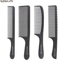 profesyonel saç kesme aletleri toptan satış-Profesyonel Saç Tarak Sert Karbon Düz Kafa Salon Styling için Antistatik Kesme Combs Ayrılık Saç Kesimi Aracı Tam Tarzı