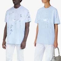 Wholesale blue sky shirt - 18ss Summer Europe Paris Fashion Men High Quality Sky Blue Broken Hole Cotton Tshirt Casual Women Tee T-shirt