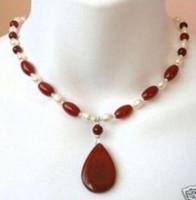 collar de perlas rojo blanco al por mayor-Hermoso collar de perlas blancas y rubíes rojos colgante 18 ''