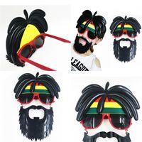 ingrosso maschera albero-Occhiali da barba Coconut Tree Hair Party Fotografia Prop Funny Spectacles Mask Birthday Halloween Mustache Gift Creative 9 8sf V