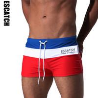 Wholesale Gold Boxer Briefs - Escatch Hot Swimwear Men Breathable Men 'S Swimsuits Swim Trunks Boxer Briefs Sunga Swim Suits Maillot De Bain Beach Shorts