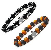 Wholesale Gemstones Stretch Bracelets - JLN Power Beads Cross Bracelet Hematite Matt Tiger Eye Onyx Gemstone Beaded Stretch Bracelet For Man Woman