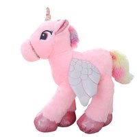 Wholesale Blue Tail Fly - Plush Unicorn Stuffed Toy with Wings and colorful Hair 60 90cm Pink Blue White Horse with Flying Tail Animal Toy