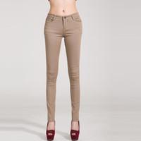 Wholesale Skinny Jeans Women Candy Color - Woman jeans Solid Pencil women Pants Girls Sweet Candy Color Slim Trousers Femme Pantalon