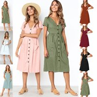 Wholesale french style dresses - New Women Dress Summer V-Neck Short Sleeves Sundress Female French Style Button Decorated Pockets Design Vacation Knee Length Dresses