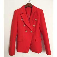 HAGEOFLY Otoño Invierno Chaqueta Roja Mujer Oficina Chaqueta de Abrigo  Formal Formal Casual Botones de Metal de Doble Botonadura Ropa de Trabajo  Chaqueta ... aee6369922c25