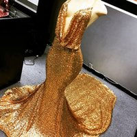 Wholesale Glamorous Deep V Neck Dress - Cheapest Sparkly Sequins Prom Dresses Sexy Deep V-Neck Sleeveless Backless Mermaid Party Dress 2018 Glamorous Dubai Celebrity Evening Gown