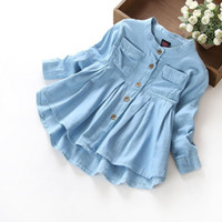 Wholesale blue denim blouse - kids girls denim shirts baby girls casual soft fabric children blouse shirt child flouncing lace tops kids girls fashion clothes