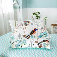 Wholesale black flowered bedding resale online - Flower Bird Pattern Pillow Cover Cotton Bedding Pillow Case Pieces Cartoon Animal Pillowcases x74cm High Quality