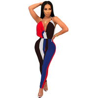 Wholesale yellow rompers for women resale online – New Sexy Contrast Deep V Neck Jumpsuits for Women Striped Multi Backless Rompers Ladies High Waist Club Party Overalls