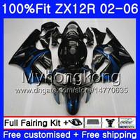 Wholesale zx12r blue for sale - Injection For KAWASAKI NINJA ZX1200 CC ZX12R HM ZX R R ZX R Blue flames Hot Fairing