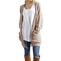 kadın uzun örme hırka toptan satış-Yeni Uzun Hırka Kadınlar Uzun Kollu Örme Kazak Hırka Sonbahar Kış Bayan Kazak 2018 Jersey Mujer Invierno