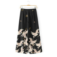 элегантные широкие штаны для ног оптовых-Wholesale-2017 New Women  Vintage Elegant Position Crane Print Loose Wide leg pants Long Trousers Leisure Zipper  Pants P002