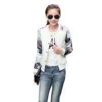 kız giyim sütyen toptan satış-Kadınlar Ceket Bayan Çiçek Baskı Kız Dış Giyim Casual Beyzbol Kazak Düğme İnce Bombacı Uzun Kollu Ceket ceketler Tops