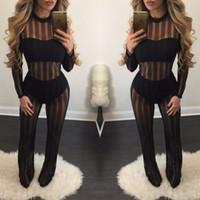 Wholesale Classic Bodysuit - Hot Sale Classic Mesh Bodysuit Rompers Women Jumpsuit Transparent Sexy Jumpsuit Long Sleeve Overalls Pants