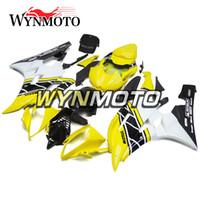 yamaha r6 eksiksiz kaplama kiti toptan satış-Yeni ABS Plastik Enjeksiyon Motosiklet 2007 R6 Yamaha YZF600 R6 YZF-600 2006 Için Komple Fairings 2006 2007 Vücut Kitleri Sarı Siyah Kaporta
