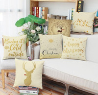 Wholesale new cushion cover design resale online - Christmas New Year gift pillowcase Merry Christmas elk snowflake design sofa cushion cover car waist pillow case styles