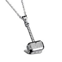 thor hammer gold al por mayor-Joyería de moda Hombres de acero inoxidable Collar Thor Hammer Collares pendientes para Hombres Joyería 2 colores plata, oro al por mayor