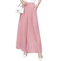 linen gauze UK - Women Cotton Gauze Linen Breathable High Elastic Waist Wide LegCulottes Loose Thin Casual Summer Pants Plus Size Red Blue Pink