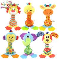 modelos de bebé meses al por mayor-22 cm sonajeros Bebé juguete de peluche campana de mano suave con mordedor Animal modelo elefante mono bebé juguetes infantil 0-12 meses brinquedos
