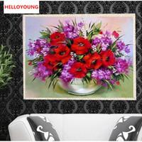 güzel çapraz dikiş kitleri toptan satış-DIY 5D Elmas Nakış Güzel Çiçekler Yuvarlak Elmas Boyama Çapraz Dikiş Setleri Elmas Mozaik Ev Dekorasyon