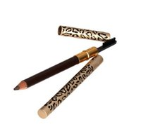 machen stift design großhandel-Augenbraue Enhancer Wasserdicht Braun Augenbrauenstift Eye Brow Liner Pen Mit Pinsel Leopard Design Metallgehäuse Bilden Werkzeug