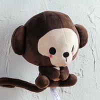 café macaco venda por atacado-Kawaii macio Macaco De Chocolate boneca de pelúcia dos desenhos animados grande cabeça de café macaco brinquedo travesseiro para o casamento meninas caçoa o presente 15 cm 25 cm LA048