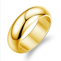 Wholesale gold jewellery ring man for sale - Gold Smooth Rings Jewelry Hot Sale Stainless Steel Band Finger Ring Women and Men Fashion Jewellery WH